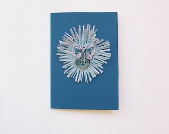 Quilled Leo Blank Birthday Card, Zodiac Sign Art Birthday Card, Lion Astrology card