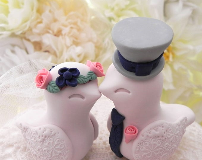 Love Birds Wedding Cake Topper, Ivory, Coral, Navy and Grey, Bride and Groom Keepsake, Fully Personalized