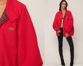 Lacoste Jacket 80s Windbreaker Bomber Jacket Red Crocodile PLAID LINED Zip Up Preppy Hipster Coat Vintage 1980s Extra Large xl