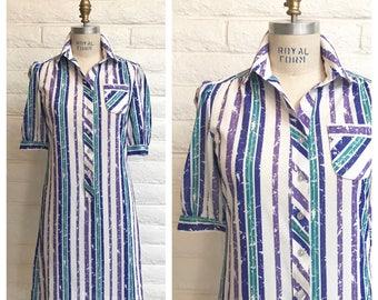 Vintage striped shirtdress. Size small / medium