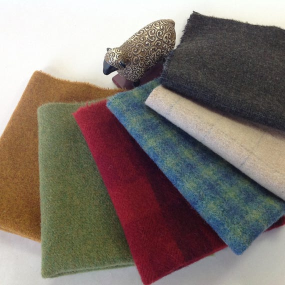 6) Fat 1/8s or Fat 1/16ths, Holiday Color Medley, Wool Fabric for Rug Hooking and Applique, W318, Red, Green, Gold, Blue, Black, White Wool