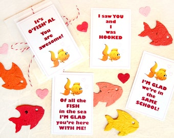 24 Seed Paper Fish Valentine's Day Card Set - All in the Same School - Funny Valentines for Kids School Class Party