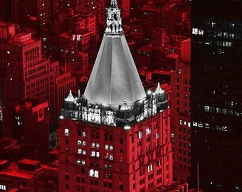 New York Life Building - Modern Fine Art Urban City Photography, office, hotel, home, wall deco, nightsky, lights, glow,landmark,red,vibrant