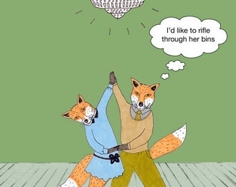 Funny, quirky dancing foxes card