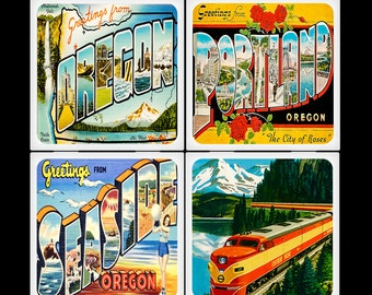 Vintage Oregon Postcards - Ceramic Coaster Set