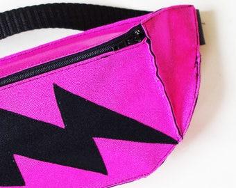 Hot Pink Lightning Bolt Festival Fanny Pack Bum Bag Burning Man