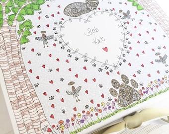 Cat Memorial, Keepsake Box, Pet Memory Box, Hand Illustrated. Personalised, Commissioned, Bespoke.