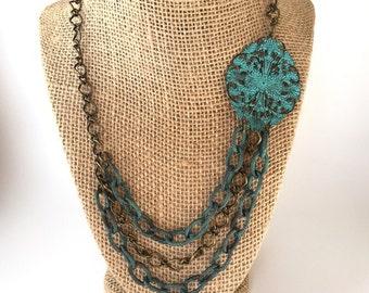 Asymmetrical Verdigris Medallion Necklace