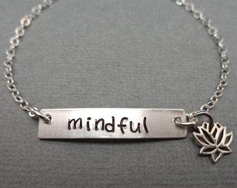Mindful Sterling Bar Bracelet - Mantra Jewelry - Spiritual Bracelet Mindful Present - Custom Word Mantra Bracelet- Lotus Cross Heart -B44