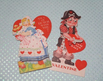 Vintage Childrens Valentine Day Cards Lot-Ephemera-Mixed Media-Paper-Crafts-Scrap Booking-Victorian-1930's-Dutch Girl-Pirate-Mechanical