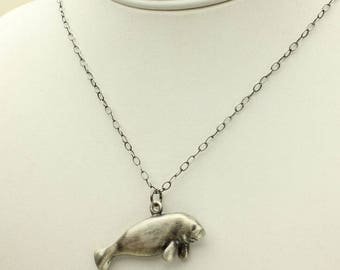 Manatee Silver Necklace, Manatee Pendant in Solid Sterling with Cable Link Silver Chain, Nautical Sea Cow
