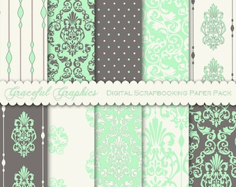Scrapbook Paper Pack Digital Scrapbooking Background Papers DAMASK 10 8.5 x 11 Sheets DELICATE Gray GREEN White 1861gg
