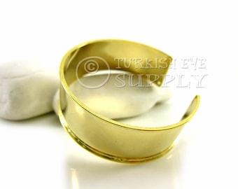 Brass Cuff Bracelet, Adjustable 22K Gold Plated Blank Cuff Bracelet, Turkish Bracelet Jewelry