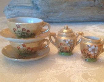 Vintage 1940's Copper Lusterware Minature Cup and Saucer, Sugar and Creamer Set 7 Pieces