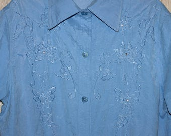 Blue Embroidered Blouse Vintage Shirt Floral Embroidery Short Sleeve Size L