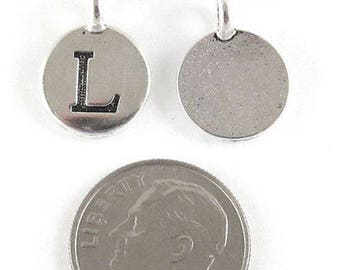"TierraCast Pewter Initial Charms-Silver Round Letter ""L"" 12x16mm (2)"