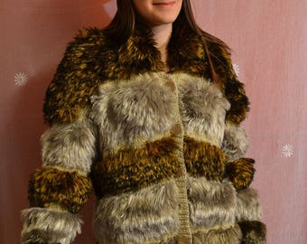 Knit Jacket, fur, hand knitted