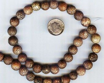 10mm Distressed - Aged Tibetan Natural Old Agate Round Beads 10pcs