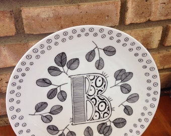 Hand Painted Letter Ceramic Plate