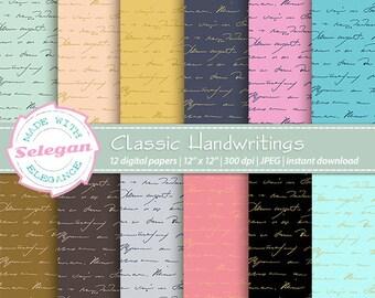 "handwriting scrapbook paper"" Classic Handwritings "" retro classic vintage handwriting theme digital printable scrapbook paper notes"