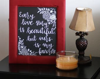 Hand Lettered Floral Canvas Panel Wall Art