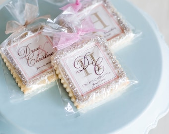 Champagne and blush wedding cookie favors-- 1 dozen