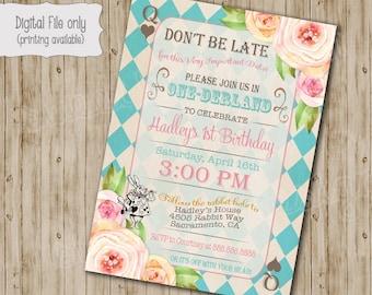 Alice in Wonderland Birthday Party Invitation, Alice in Onederland Birthday tea party invitation, Vintage floral Mad Hatter invite
