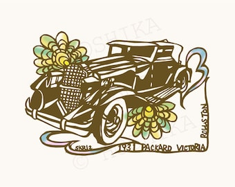 1931 Packard Victoria Rollston, Vintage Car Series, prints of Kiri-e (hand-cut paper art), set of 6 greeting cards