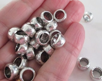 Silver Rondelle Spacers - Large Hole Round Beads - Ring Spacers Sliders - Bracelet Findings - For Leather Cord - 10mm - 30 PCS - Diy Jewelry
