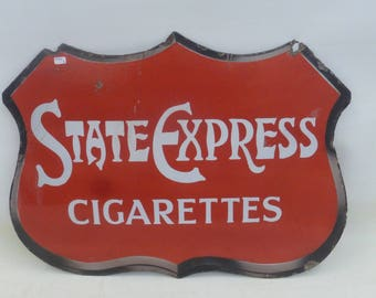 "State Express Cigarettes shaped double sided enamel sign, 22 x 16"".   1930s"