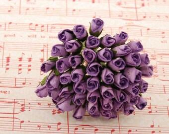 Lavender Mulberry Paper Rose Buds Bud008