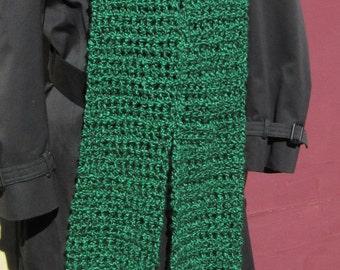 Green Scarf 88x6 Extra Long Chunky Oversize Thick Mans Womans Crochet knit Bohemian Irish Spring Handmade Birthday Gift Trending Wrap