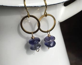 Iolite Rondelle Earrings, Drop Ear, Brass Hoops, Drop Earrings, Dangle, Iolite Rondelles, Etsy, Etsy Jewelry, Dainty Earrings