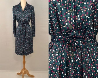 70s Blue Polka Dot Day Dress