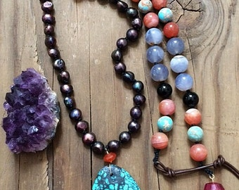 Hubei Turquoise Necklace | Baroque Freshwater Pearl | Cape Amethyst | Botswana Agate | Knotted | Bohemian