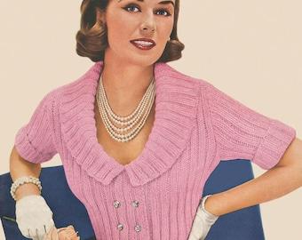 KNITTING PATTERN Vintage Short Sleeve Cardigan Sweater Instant Download PDF