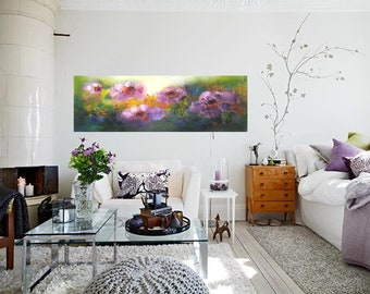 XL narrow very long giclee canvas print,floral abstract canvas art,original oil on canvas 12x36 pink green purple Boho chick wall hangings