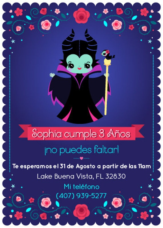 Invitaci 243 N De Mal 233 Fica Para Fiesta Infantil