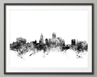 Providence Skyline, Providence Rhode Island Cityscape Art Print (2017)