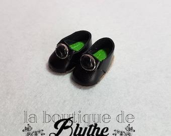Black leather shoes for Blythe doll-black leather shoe for Blythe