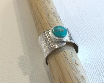 Sterling Silver & Turquoise Wrap Ring, Sterling Silver Ring, Turquoise Ring, Ring Size 7.25