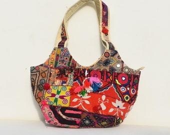 very unique indian handmade old vintage fabric woman solder bag bohemian old vintage hand stitched designer woman solder bag