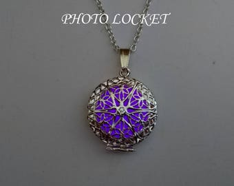 Purple Photo Locket - Memory Locket Necklace - Christmas gift - Glowing Jewelry - Best Friend Gift- Gifts For Her - Glowing Necklace