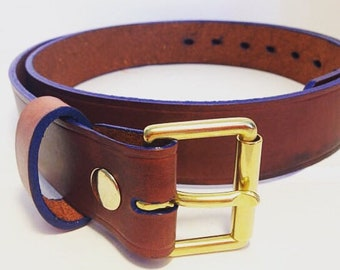 Mahogany brown and Electric Blue leather belt 38mm