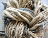Handspun, Handdyed Yarn, Thick n Thin, Bulky, Thick, Wool, Tan, White, Beige, Knitting, Yospun, Weaving, Crochet, Novelty, artisan, art yarn