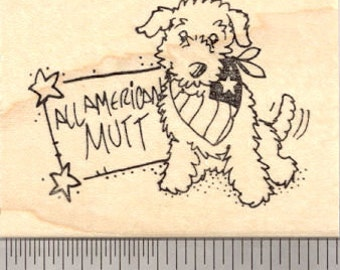 All American Mutt, 4th of July Dog Rubber Stamp  H21418 Wood Mounted