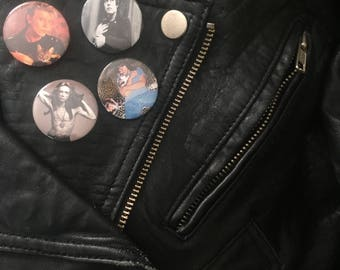 Babes With Cats Four Pin Set Iggy Pop, David Bowie, Marc Bolan, Johnny Ramone