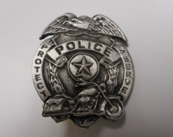 BIKER PIN police badge with motorcycle