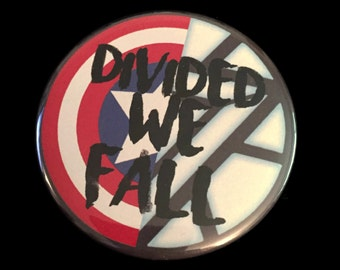 Button Pin Marvel Captain America Civil War Iron Man Divided We Fall Shield 2.25