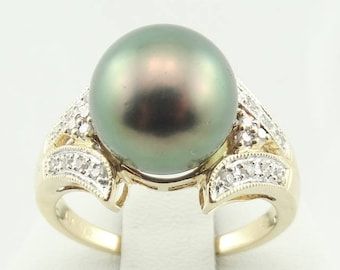 Stunning Black South Sea Pearl Vintage 14K Gold And Diamond Ring FREE SHIPPING!  #BLACK1-SR
